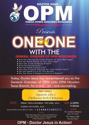 OPM HOUSTON TEXAS- ONE ON ONE WITH THE GENERAL OVERSEER OF OPM